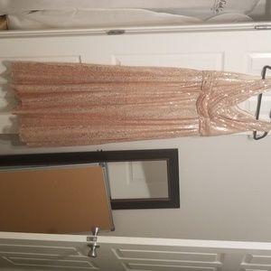 Rose Gold Sequin Bridesmaid/ Prom Dress